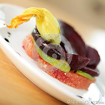 Vegan salad with garnish