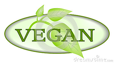 Vegan symbol with green leafs isolated Stock Photo
