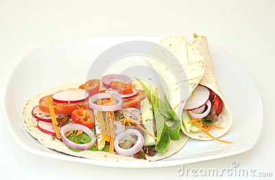 Vegan Wraps With Fresh, Raw Vegetables Stock Images - Image: 31496494
