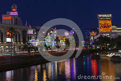 The Vegas Strip Reflecting in Water in Las Vegas, NV on June 05, Editorial Stock Image