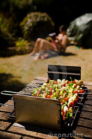 Free Vegetable Barbecue Shish-kebab Sunbathing Girl Royalty Free Stock Photos - 9699958