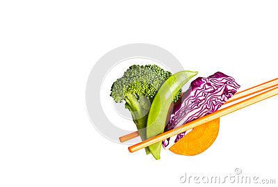 Vegetable with chopsticks