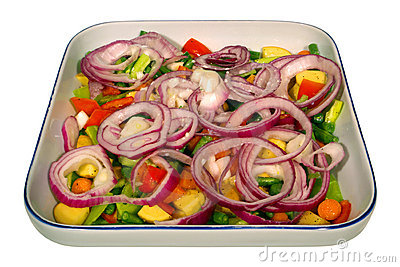 Vegetable Dish with Peppers and Onions Isolated
