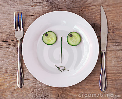 Vegetable Face on Plate - Female, Flirting