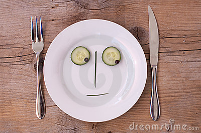 Vegetable Face on Plate - Male, Neutral, looking d