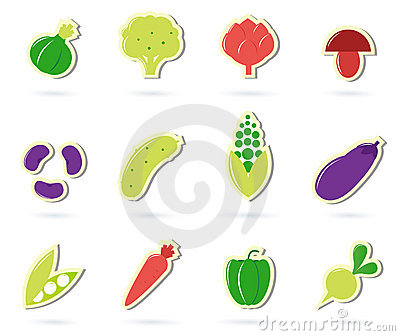 Vegetable food retro icons collection.