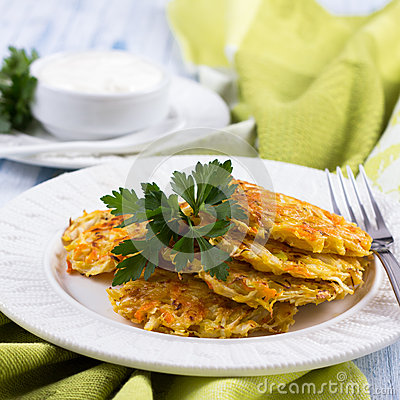 Free Vegetable Fritters With Cabbage And Carrots Stock Images - 47253524