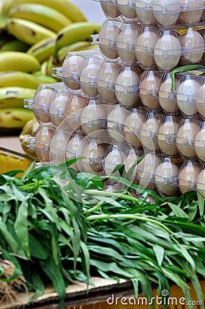 Vegetable, fruit and egg in fresh market
