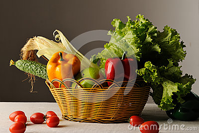 Vegetable and fruits in basket
