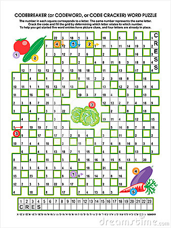 Vegetable garden codebreaker word puzzle
