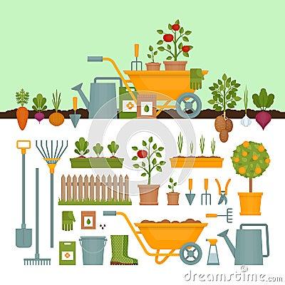 Free Vegetable Garden. Garden Tools. Banner With Vegetable Garden. Fl Stock Images - 110496934