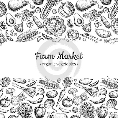 Free Vegetable Hand Drawn Vintage Vector Illustration. Farm Market Poster. Vegetarian Set Of Organic Products. Royalty Free Stock Photos - 94575678