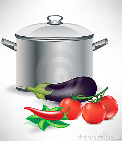 Vegetable ingredients and soup pot