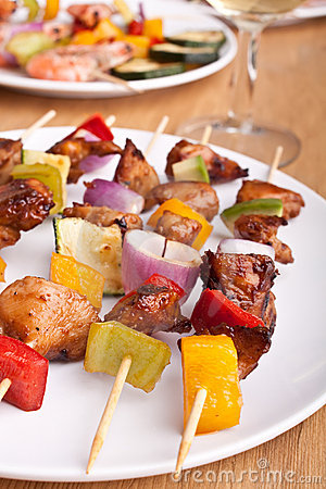 Vegetable and meat grilled kebabs