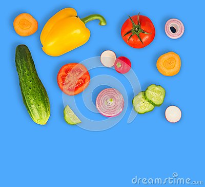 Free Vegetable Mix On Blue Isolated Background. Fresh Yellow Pepper, Chopped Tomatoes, Onion, Round Cucumber Slice, Carrot, Radish. Royalty Free Stock Photos - 114791208