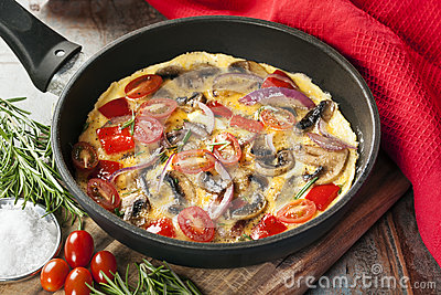 Vegetable Omelet in Skillet