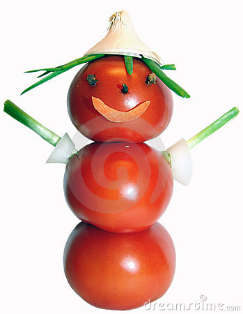 Tomatoes and onions person