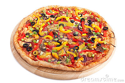 Vegetable pizza on a board