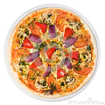 Vegetable pizza from the top