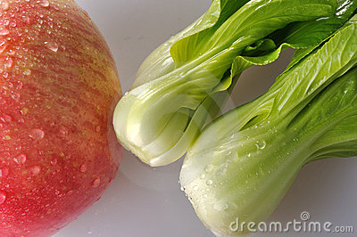 Vegetable and red apple