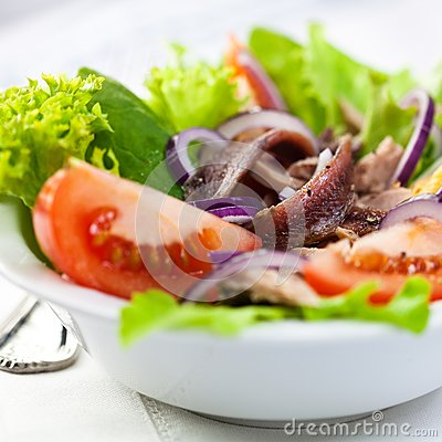 Vegetable salad with anchovy