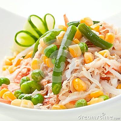 Vegetable salad with peas bean