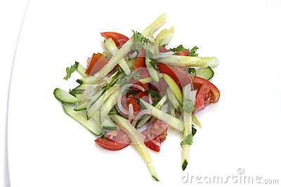 Vegetable salad on white background