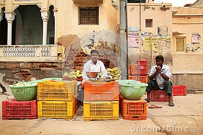 Vegetable salesman in India Editorial Image