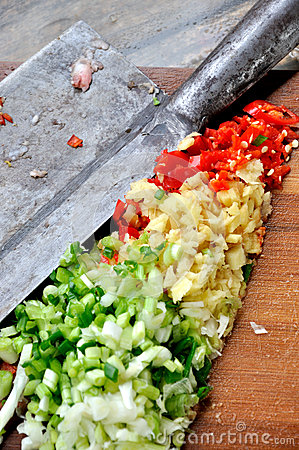 Vegetable and seasoning particle