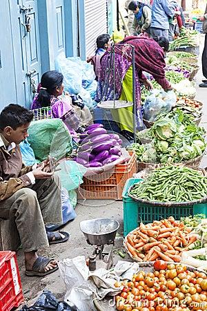 Vegetable Sellers, Kathmandu, Nepal Editorial Stock Image