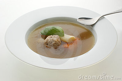Vegetable soup with carrot and meat balls