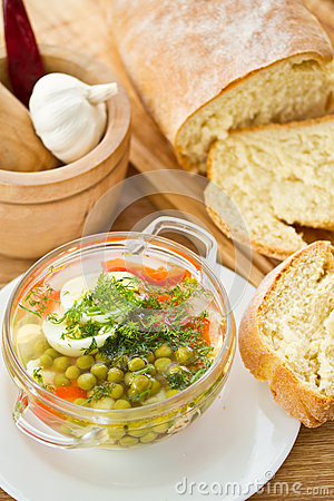 Vegetable soup with green peas