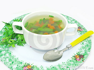 Vegetable soup with haricot bean