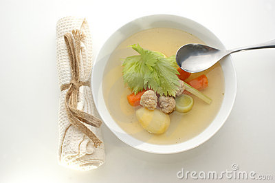 Vegetable soup with organic carrot and meat balls