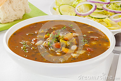 Vegetable Soup and Salad