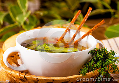 Vegetable soup with salty