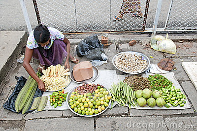 Vegetable vendor yangon myanmar street Editorial Photography