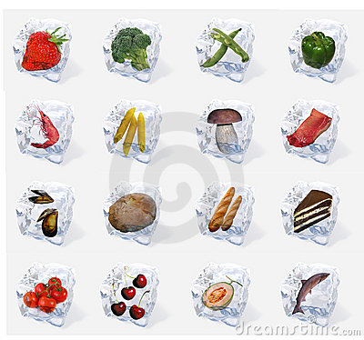 Free Vegetables And Food Frozen In Ice Cubes Royalty Free Stock Photo - 13745345