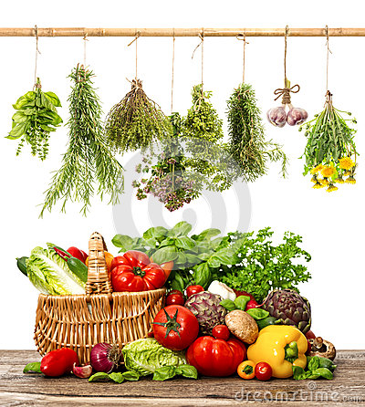 Free Vegetables And Herbs. Shopping Basket. Healthy Food Royalty Free Stock Images - 45758519