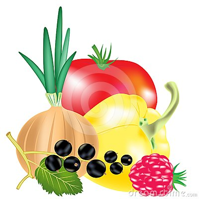 Vegetables and berries with fruit
