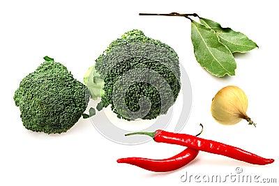 Vegetables broccoli, red pepper