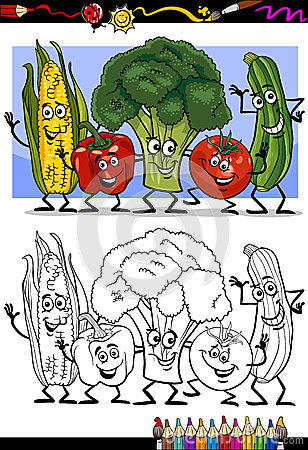 Vegetables comic group for coloring book