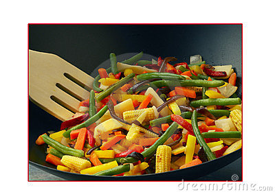 Vegetables cooked in a wok