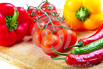 Vegetables for cooking on cuting board