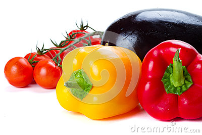 Vegetables for cooking over white