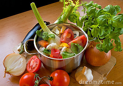 Vegetables in cooking pot