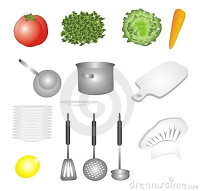 Vegetables and dishes set icons