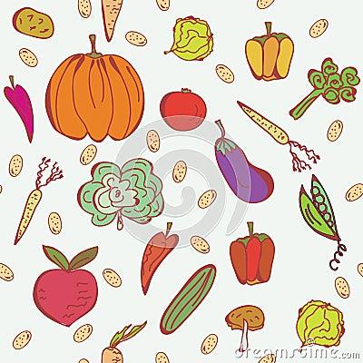 Vegetables doodle seamless pattern