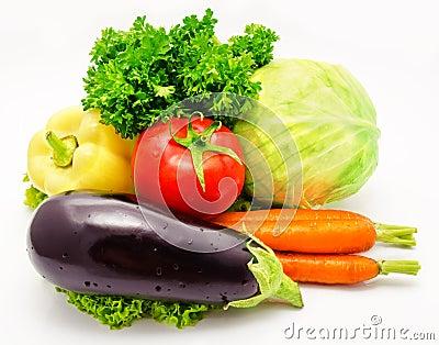 Vegetables eggplant tomato cabbage