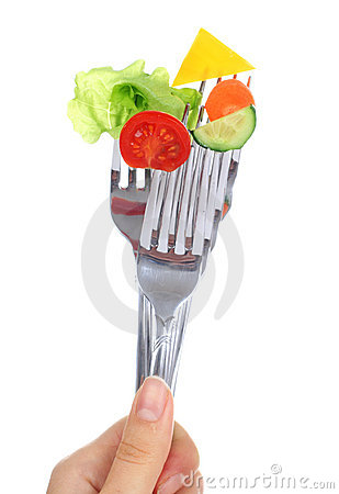 Vegetables on forks.